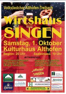Volksliedchor Althofen - Wirtshaussingen @ Althofen: Kulturhaus | Althofen | Kärnten | Österreich