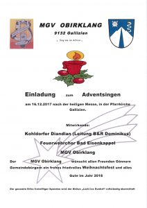 MGV Obirklang Gallizien - Adventsingen @ Gallizien: Pfarrkirche | Gallizien | Carinthia | Austria