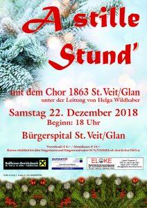 """Chor 1863 St. Veit/Glan - Weihnachtskonzert """"A stille Stund`"""" @ St. Veit/Glan: Bürgerspital"""