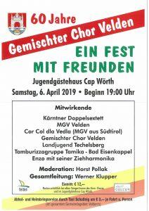 """Gemischter Chor Velden - 60 Jahr Jubiläum """"Ein Fest mit Freunden"""" @ Velden: Jugendgästehaus Cap Wörth"""