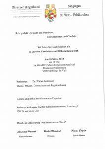 Sängergau St. Veit-Feldkirchen - Chorleiter- und Obleute Stammtisch