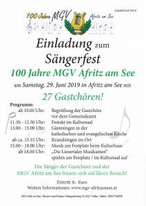 100 Jahre MGV Afritz am See - Sängerfest mit 27 Gastchören! @ Afritz am See: Gemeindeamt