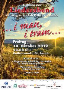 """Singgmeinschaft Pölling - St. Andrä - Liederabend """"... i man, i tram ..."""" @ St. Andrä: Rathaussaal"""