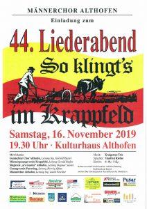 "Männerchor Althofen - 44. Liederabend ""So klingt`s im Krappfeld"" @ Althofen Kulturhaus"