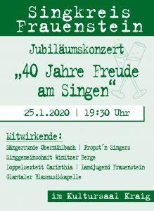 "Singkreis Frauenstein - Jubiläumskonzert ""40 Jahre Freude am Singen"" @ Kraig: Kultursaal"
