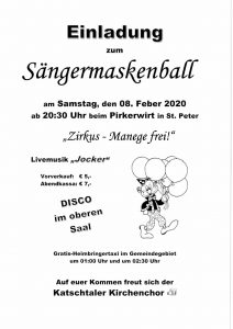 Katschtaler Kirchenchor - Sängermaskenball @ St. Peter: Pirkerwirt